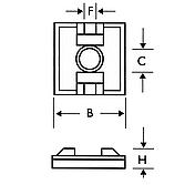 1-Weg Sockel 19x19 schwarz selbstklebend; f.Kabelbinder bis