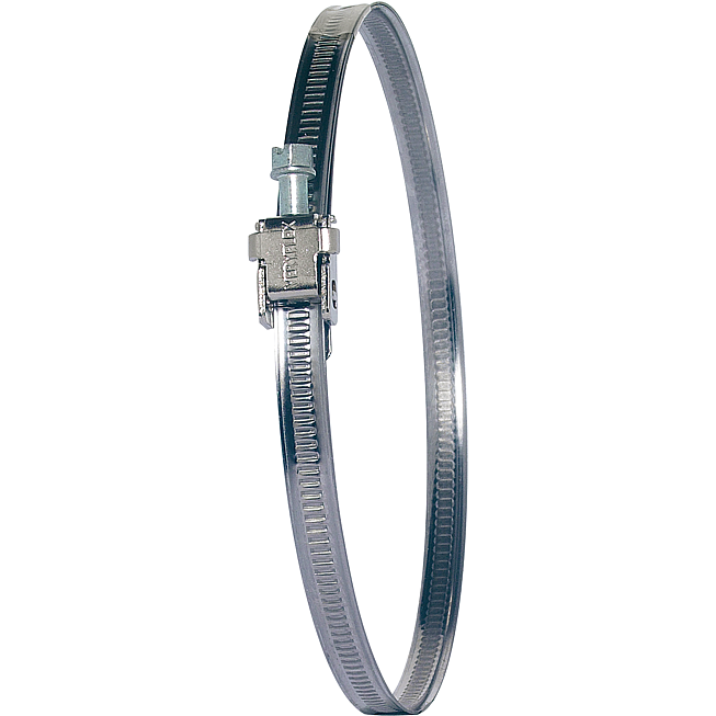 Schlauchbride 50-110mm 9mm Band Edelstahl nach AISI 430, Schlossteil vernickelt