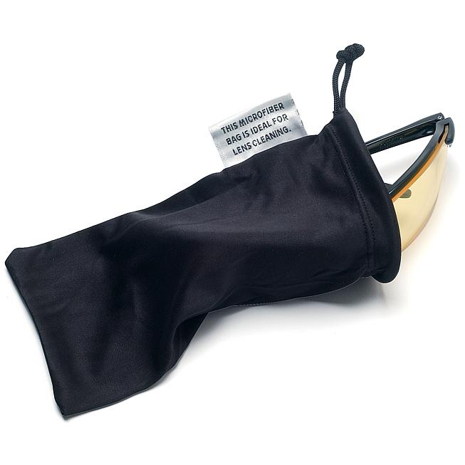 Reinigendes Mikrofaser- Brillenetui in, schwarz mit Zugkordelverschluss