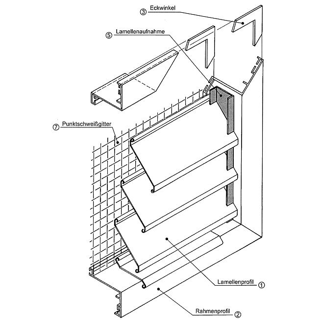 Lamellensteg zu Wg-Al-68 aus Aluminium, Profil à 2.5m gekantet