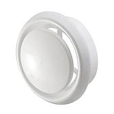 Ab- und Zuluftventil Kunststoff mit einstellbarem Innenkern, Montagerahmen und Klemmring Reinweiss