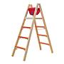 Hymer Holz-Sprossen-Stehleiter breitsprossen 2x5 1.5m