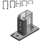 Schienenhalter C-Profil, 26-52 Lämgs, Schienenbreite 45mm