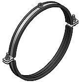 Rohrschelle Eco 2-Teilig V2A mit Schalldämmeinlage und Schraubenverschluss für Lüftungsrohre