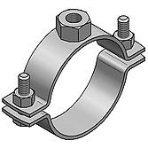 Edelstahlrohrschelle V2A Spannbereich 53-57mm zweiteilig