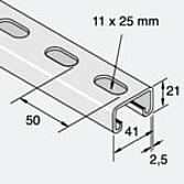 Montageschiene 41x21x2.5mm 3m lang Verzinkt